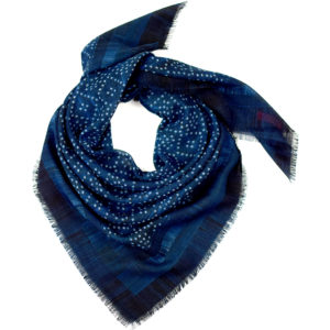 Faded Star Blue Wool Scarf