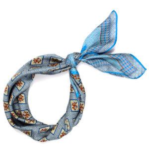 blue printed floral silk scarf