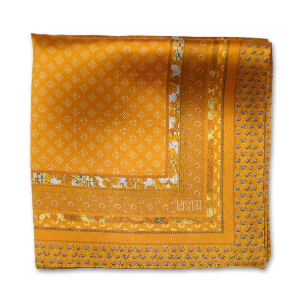 printed gold batik silk pocket square