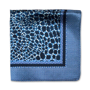 blue camouflage print silk pocket square