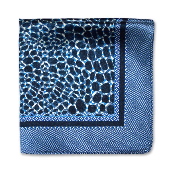 blue camouflage print silk pocket square