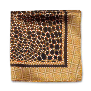 bronze camouflage print silk pocket square