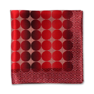red spot printed silk pocket square