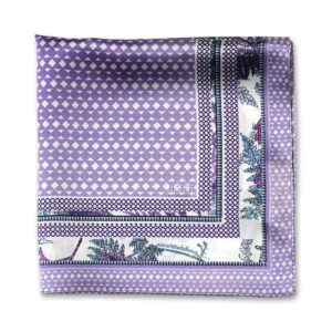 Lilac printed silk pocket square