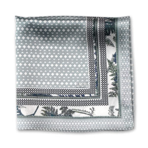 grey green silk printed pocket square