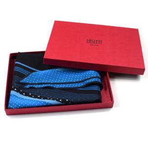 Riviera printed blue silk diamond scarf in gift box