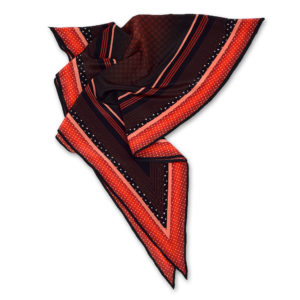 Riviera printed red silk diamond scarf