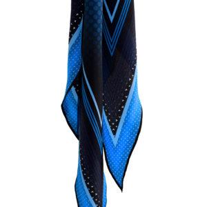 Riviera printed blue silk diamond scarf